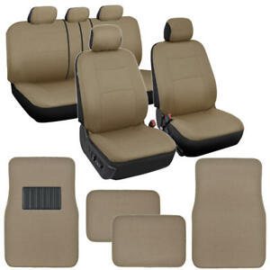 Tan Beige Car Seat Covers for Auto SUV Van with 4 Piece Carpet Floor Mats