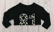 Guess Girls Black Top Small S 4 Long Sleeve Floral 81 Rhinestone Crop Pullover