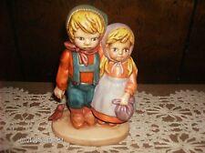 """Old Vintage Porcelain 8"""" Boy Girl Bird Hummel Look A Like Figurine"""