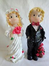 "Wedding Cake Toppers Set of 2 BRIDE AND GROOM 8"" Figurine Resin Glitter Red Rose"