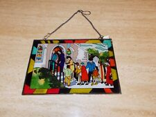 STAINGLASS WINDOW PANEL , PEOPLE GOING TO CHURCH, FROM OUR OWN IMAGE COLLECTION