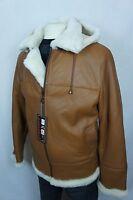 Orange Men B3 100% Shearling Leather Sheepskin Bomber Flight Coat Jacket M-8XL