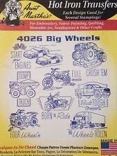 Aunt Martha's Hot Iron Transfer 4026 Big Wheels NEW
