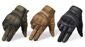 Motorcycle Gloves Touchscreen Hard Knuckle Full Finger Leather Military & Sport