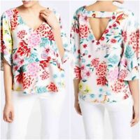 NEW M&S Ladies WHITE Floral Print Layered Summer Top Size 8 - 22