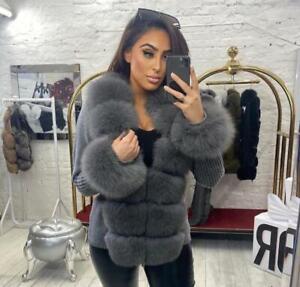 Women Cardigan with Real Fur Trim Slim Fleece Sweater Detachable Warm Coat 57950