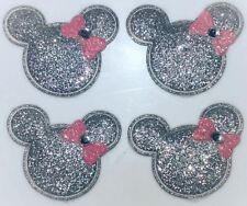 4PC Minnie Mouse Patches Silver Glitter Embellishment Scrapbook Padded Appliques
