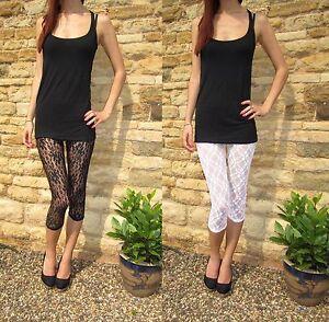 3/4 Length Leggings LACE Pants Black Shop price £18 6 10 12 14 16 18 20 S M L