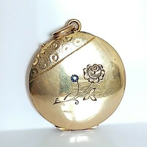 Beautiful Antique Rolled Gold & Sapphire Floral Rose Locket Pendant Necklace