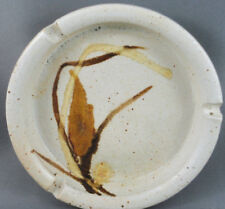 Ashtray Art Pottery Signed Wheat on Oatmeal speckled 5in diameter Ineke Canada