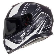 MT Thunder 3 Trace Full Face Motorcycle Helmet Matt Black/white Sun Visor M