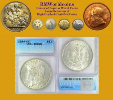 1884 CC Morgan Dollar, Rare Date, Gem ICG 66, Full White Luster/Sharp Detail.