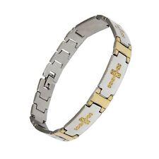 Men's 12mm Stainless Steel Gold Cross Bracelet