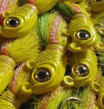 3/4 oz Minnow Head 3-D eye bucktail 10 pack-Yellow,Green,Orange D2