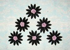 6 Embroidered Black Flower Applique w/Purple Satin Rose - EB4