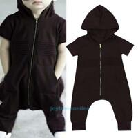 Newborn Baby Boys Short Sleeve Hooded Zipper Pocket Romper Cool Black Jumpsuit