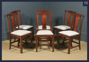 Antique English Set of Six 6 Georgian Style Victorian Mahogany Dining Chairs