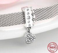 Reflexion Clip für Pandora Charm Armband Echt Silber Prinzesin krone Herz Zirkon