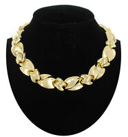 Gold Tone Abstract Link Collar Choker Necklace Toggle Vintage 16""