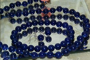 GENUINE LAPISS LAZULI  NECKLACE BRACELET AND EARRING SET    .925 STERLING SILVER