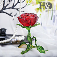 Crystal Blooming Rose Figurines Glass Ornaments Paperweight Wedding Decor Gift