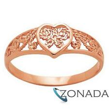 Filigree Heart 9ct 9k Solid Rose Gold Ring Size P 7.75 R41508