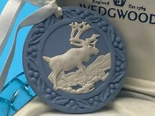 More details for wedgwood blue jasperware hanging ornament medallion boxed