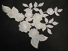 Ivory bridal sequins & beads floral lace applique/ wedding lace motif by piece