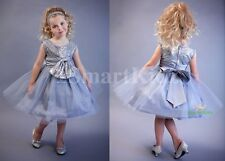 Grey Sequined Scoop Formal Dress Flower Girl Wedding Occasion Party Size 5 FG314