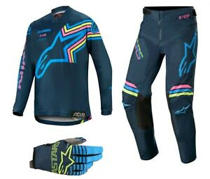 ALPINESTARS 2020 YOUTH RACER BRAAP MotoCross Jersey/Pants/Gloves Navy/Aqua/Pink