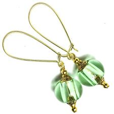 Extra Long Gold Earrings Green Glass Bead Drop Dangle Kidney Wires
