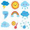 144 Cute Weather 30 mm Reward Stickers for School Teachers, Parents, Nursery