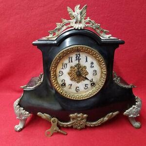 Very Unusual 1890 Ansonia 8 Day Strike Cast Iron Mantle Clock