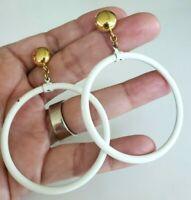 Vtg 1970s Monet Big White Enamel Hoops Gold Tone Pierced Earrings Swing