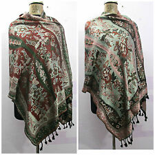 Reversible Indian Wool Wrap Shawl Scarf Stole Poncho Pashmina Cover Up a314