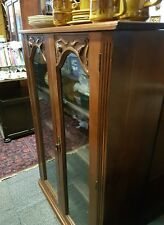 Antique Mahogany Bookcase With Adjustable Shelves Glass Doors - needs a lock