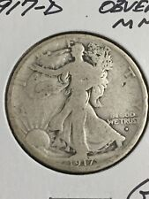 1917-D Obverse Mint Mark Walking Liberty Half Dollar in about Good Condition
