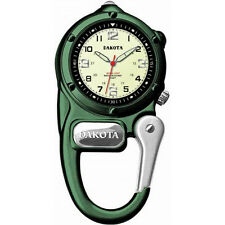 Dakota Green Mini Clip Watch - Ultra Bright LED, Microlight/Luminescent Hands