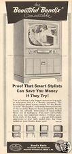 1950s vintage BENDIX RADIO Convertible TV TELEVISION Heatherly TABLE MODEL Ad