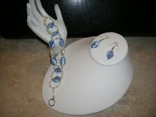 Blue and White  earring and bracelet set