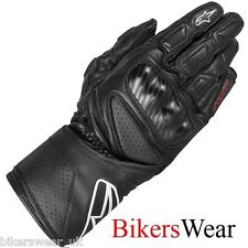 Alpinestars SP-8  SP8 Black Leather Racing & Sport  Motorcycle Gloves