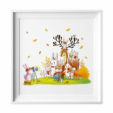 029 Kinderzimmer Bild Tiere Foto Poster Plakat quadratisch 30 x 30 cm (ohne Rahm