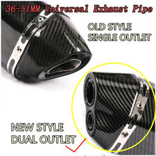 Dual-outlet Universal Motorcycle Glossy Exhaust Muffler Tail Pipe Tip 470mm