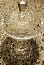 """Decorative Clear Glass 5 1/2"""" Opening Bowl With Matching Lid Great Condition"""