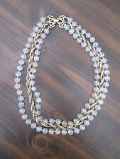 Sarah Coventry Necklace Costume Jewelry 2 strands clear beads & one Gold Rope