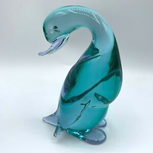 Vintage Murano Art Glass Duck Figurine Amethyst Blue AS IS