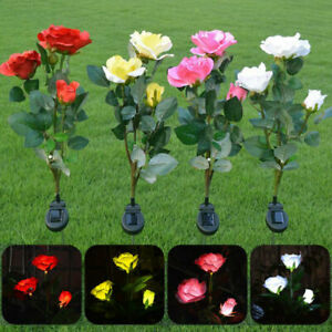 3 LED Solar Flower Rose Lights Outdoor Garden Lawn Stake Lights Patio Pathway