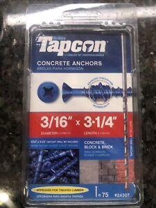 Tapcon 3/16 in. Dia. x 3-1/4 in. L Steel Flat Head Concrete Screw Anchor 75 pk