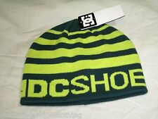 BNWT  - DC SHOES Striped Beanie Hat   Pine Green  Yellow