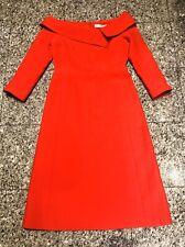 Christian DIOR 2018 Red Wool Blend Boatneck Long Sleeve Dress